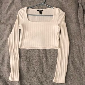 Forever 21 White Long Sleeved Ribbed Crop Top